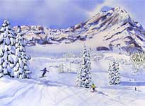Kendra Smith original commission of children skiing at Fernie