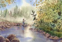 Kendra Smith commissioned original KendraArt watercolour painting of father and daughter fishing together