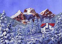 Kendra Smith original commissioned painting of house in front of The Three Sisters in Fernie, BC